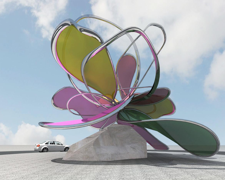 2012041801R Escultura Floral para rotonda