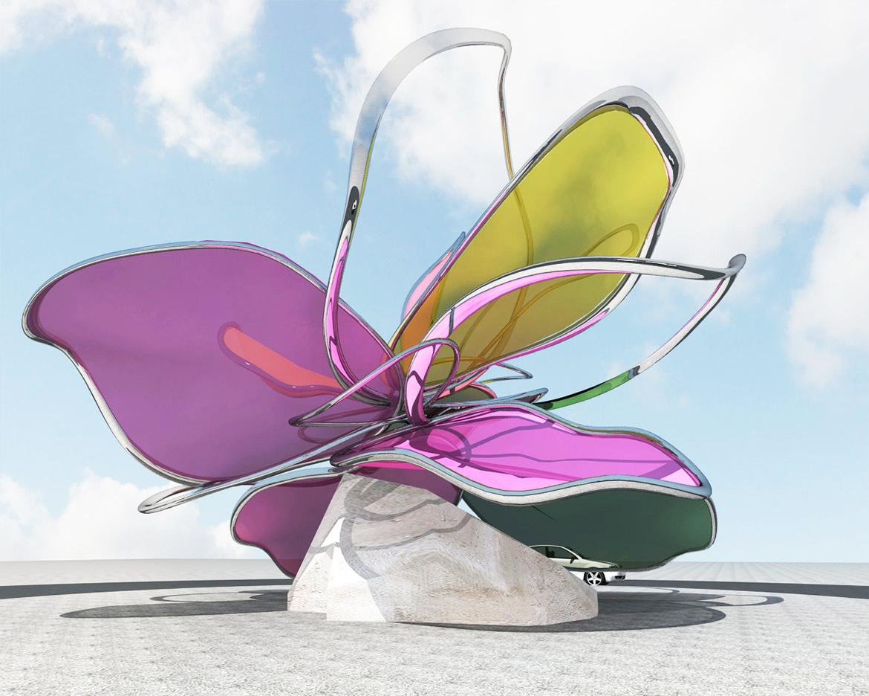 2012041804R Escultura Floral para rotonda