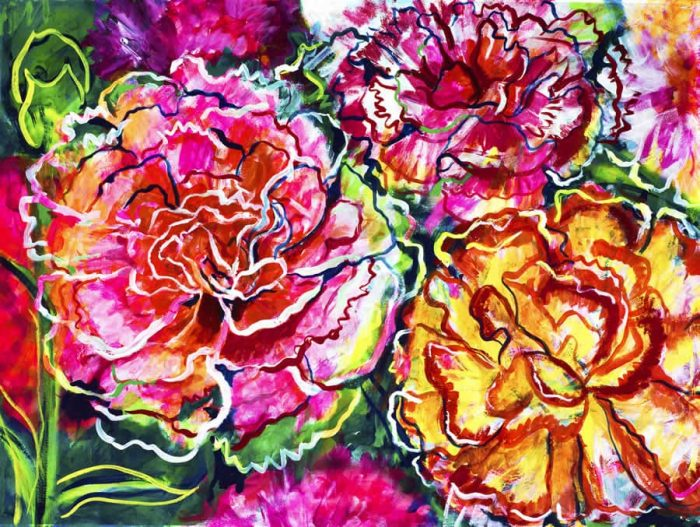 obra grafica sobre papel canson coloreada por artista 45 x60-600€__60 x 80-1200€__claveles ii