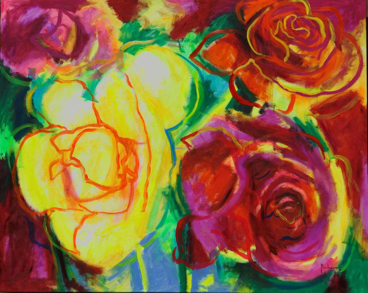 35.vaso de rosas de color