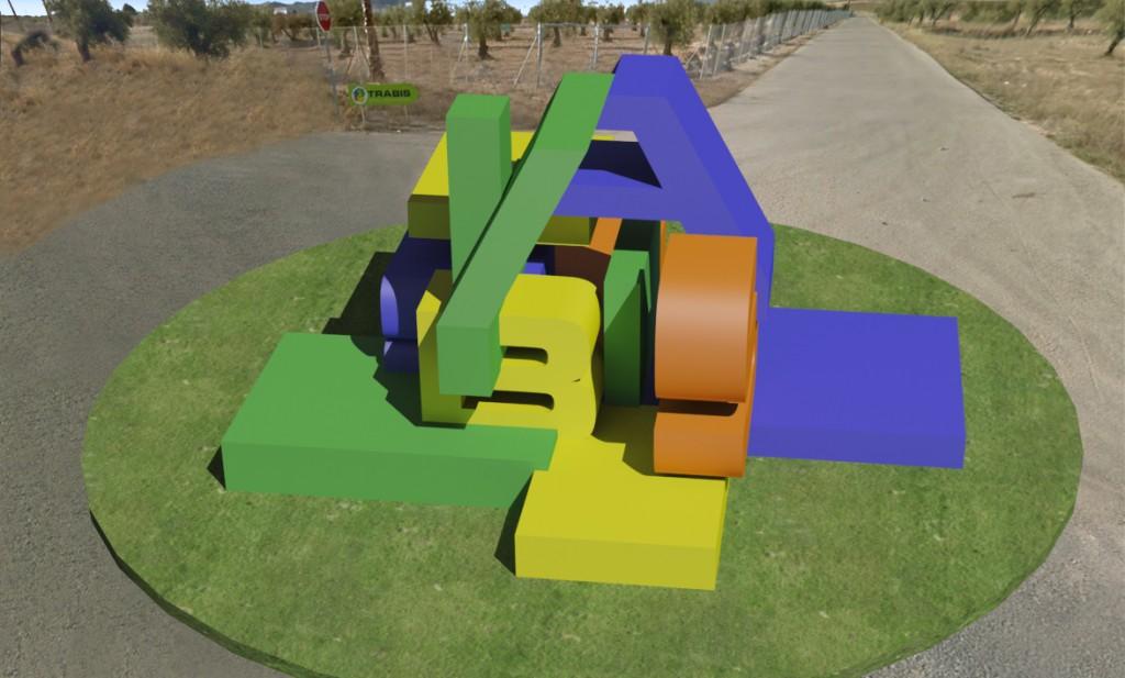 Escultura que dará acceso a la sede de Trabis diseñada por MUHER