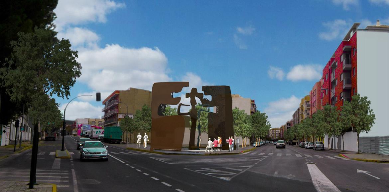 Escultura Puerta del Peregrino.