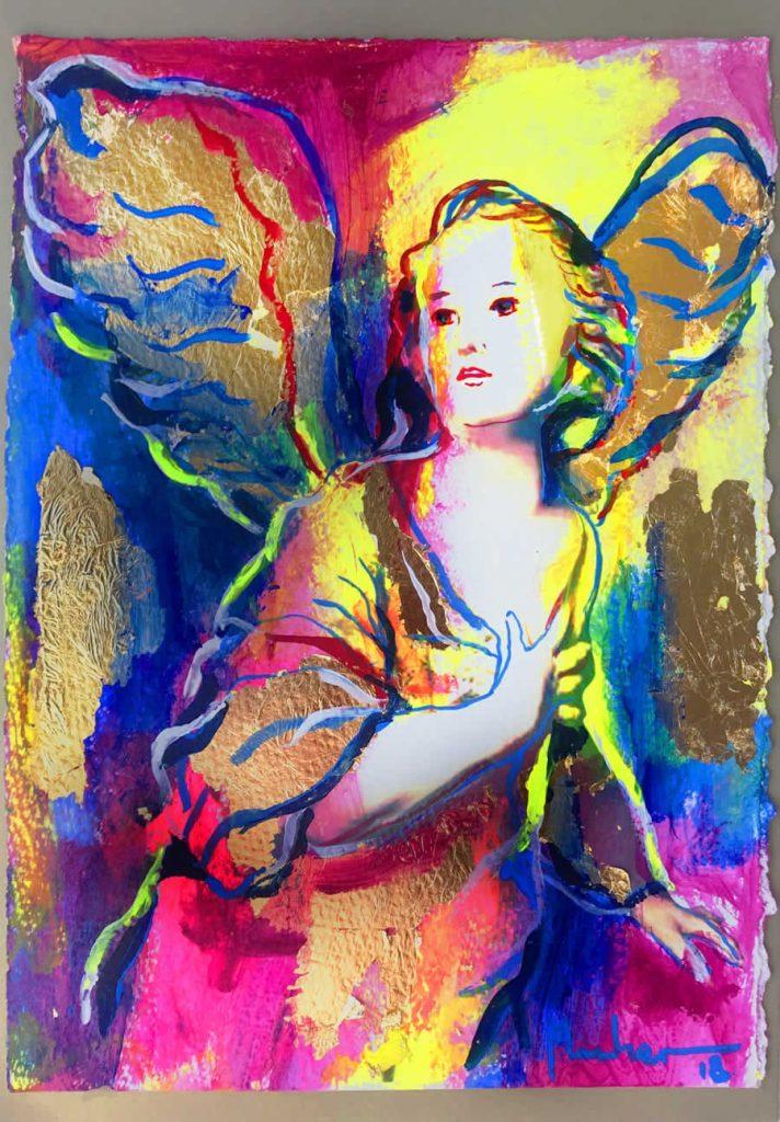 Obra grafica sobre papel canson coloreada por artista.