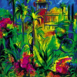 obra grafica sobre papel canson coloreada por artista 60 x 45-600€_80 x 60-1200€__huerto mediterraneo