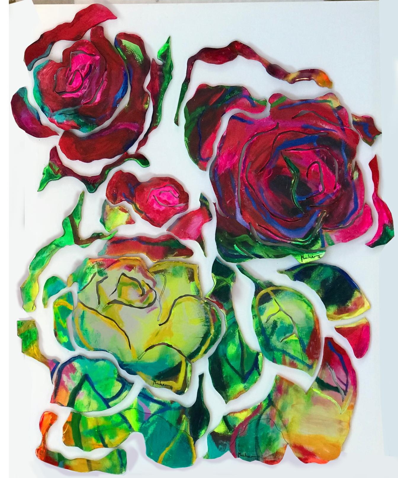 grupo de rosas deconstruidas . obra tecnica mixta . acrliico y resina sobre madera
