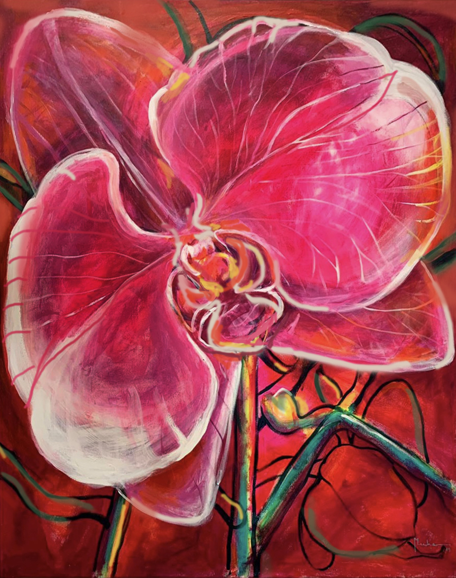 pink Orchid I 1.62 x 1.3 m mix media on canvas
