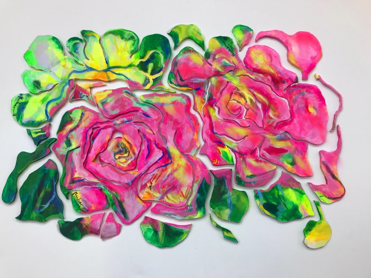 rosas deconstruidas . obra tecnica mixta . acrliico y resina sobre madera
