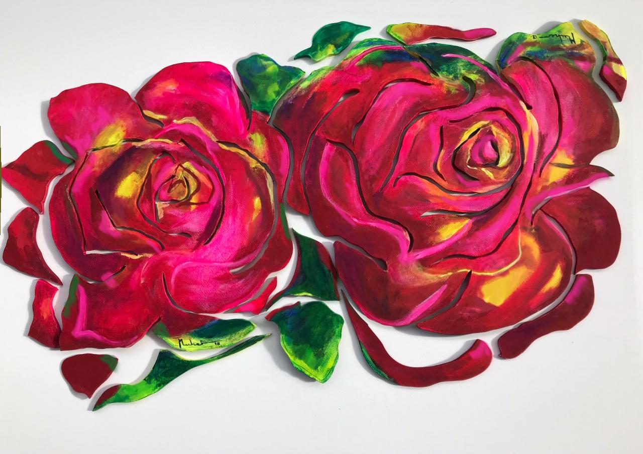 rosas rojas deconstruidas . tecnica mixta asobre tablero de madera y resina