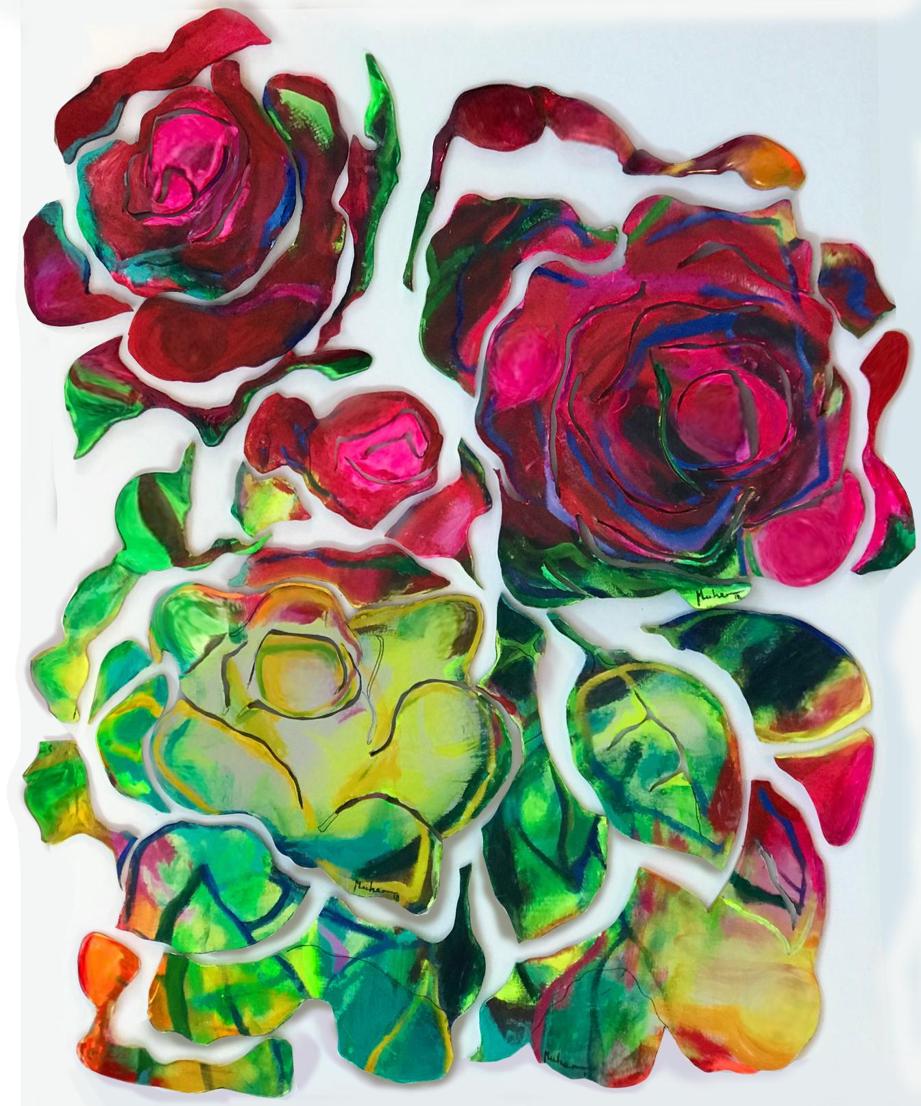 22grupo de rosas deconstruidas . obra tecnica mixta . acrliico y resina sobre madera