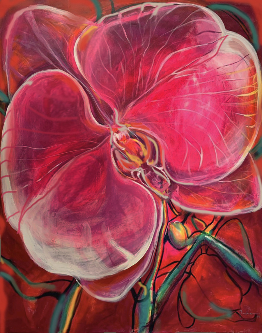 2pink Orchid I 1.62 x 1.3 m mix media on canvas_RED
